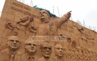Sculptures on Airport Road in Dhaka portray Bangabandhu Sheikh Mujibur Rahman's historic speech on Mar 7, 1971. Photo: Abdullah Al Momin