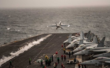 An F/A-18 Super Hornet during take off from the flight deck of the USS Abraham Lincoln, an aircraft carrier, in the North Arabian Sea, on Aug. 10, 2019. The Navy has carried out the order of its commander in chief to counter Iran in the Middle East, but in the least provocative way.