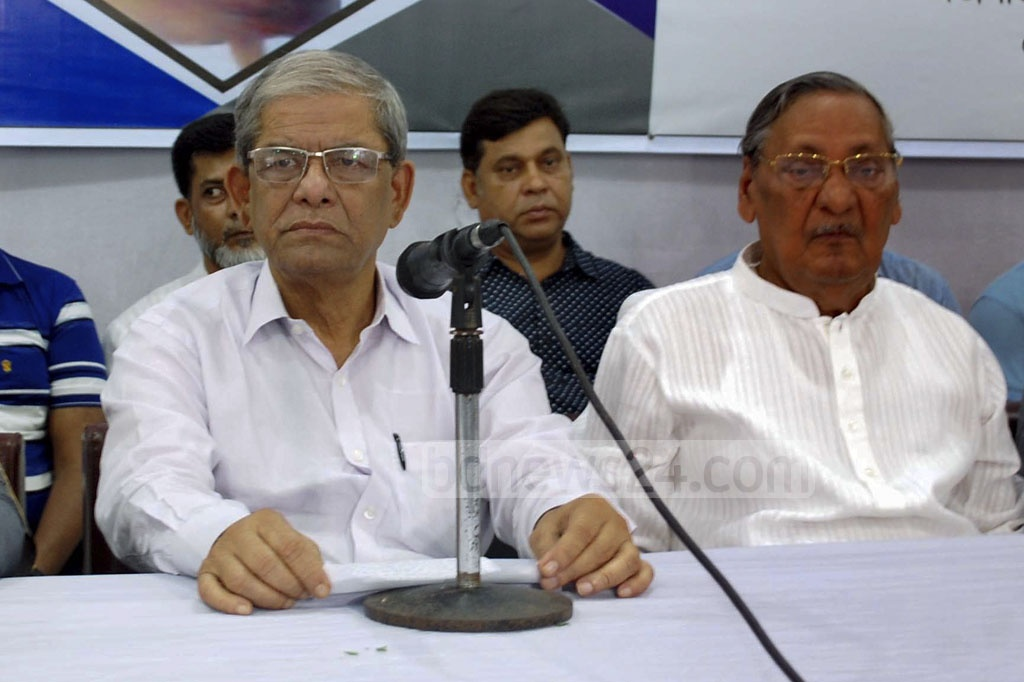 BNP Secretary General Mirza Fakhrul Islam Alamgir speaking at an event at the National Press Club on Sunday held in remembrance of late secretary general Abdus Salam Talukder on his 20th death anniversary.