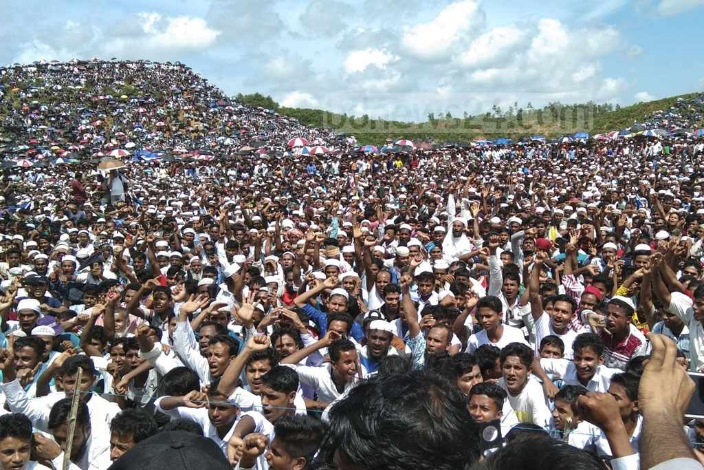 The Rohingya rallied at Kutupalong refugee camp in Cox's Bazar on Sunday marking the second anniversary of the launch a Myanmar military-led crackdown that forced over 700,000 members of the ethnic minority out of Rakhine State into Bangladesh. Photo: Masum Billah