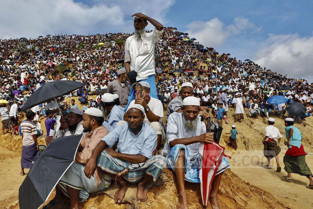 The Rohingya rallied at Kutupalong refugee camp in Cox's Bazar on Sunday marking the second anniversary of the launch a Myanmar military-led crackdown that forced over 700,000 members of the ethnic minority out of Rakhine State into Bangladesh. Photo: KM Asad