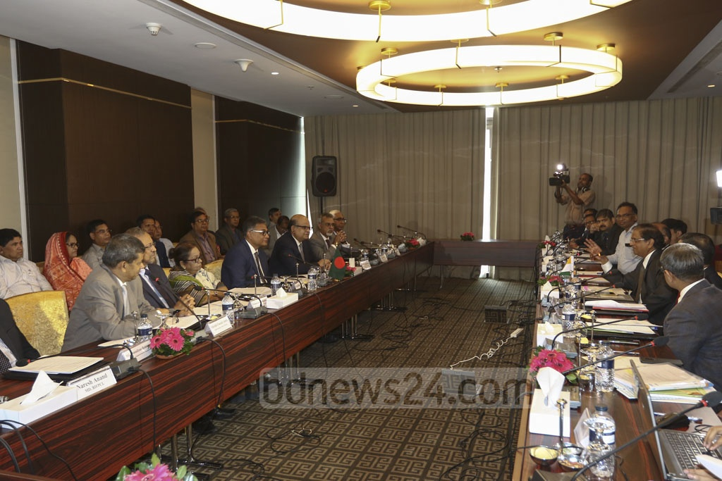 Officials of the Bangladesh-India joint steering committee on power address the media after a high level meeting at the Intercontinental Hotel in Dhaka on Monday. Photo: Mahmud Zaman Ovi