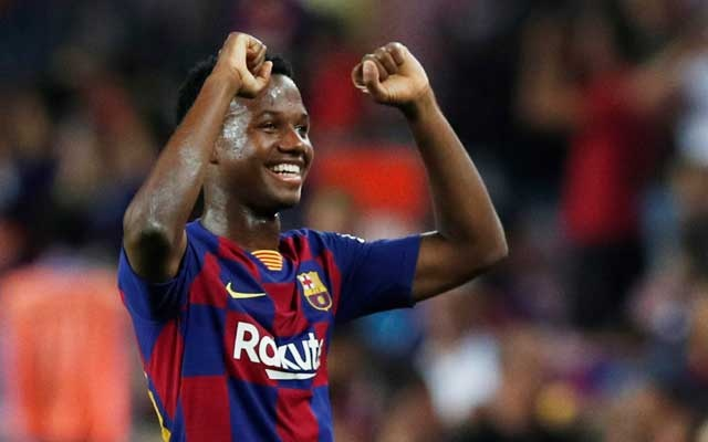 Football - La Liga Santander - FC Barcelona v Real Betis - Camp Nou, Barcelona, Spain - August 25, 2019 Barcelona's Anssumane Fati celebrates after the match. Reuters