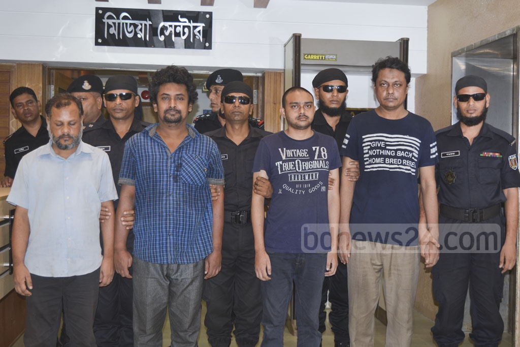 RAB produced four suspected members of militant group Allahr Dal arrested at Dakshinkhan in Dhaka at a media conference on Wednesday.
