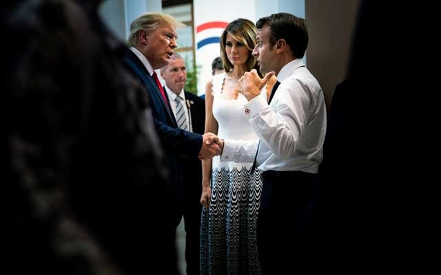 First lady Melania Trump looks on as President Donald Trump bids farewell to President Emmanuel Macron of France following their joint news conference at the G7 summit in Biarritz, France, on Monday, Aug 26, 2019