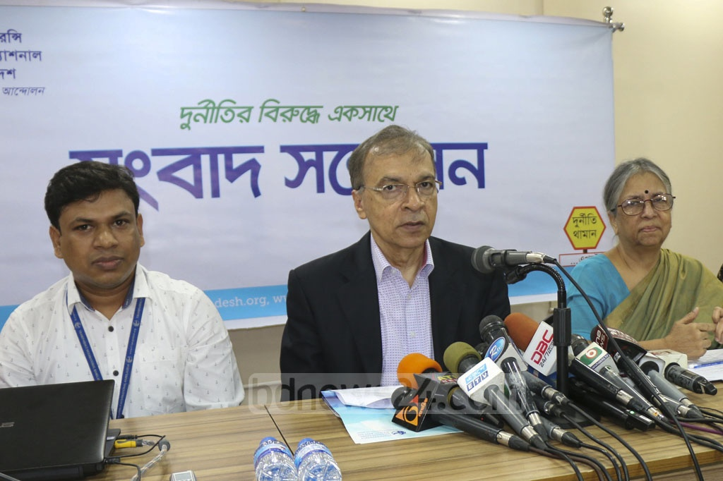 Transparency International, Bangladesh or TIB Executive Director Iftekharuzzaman speaking at the publication of its research report Parliament Watch on the 10th national parliament in Dhaka on Wednesday.