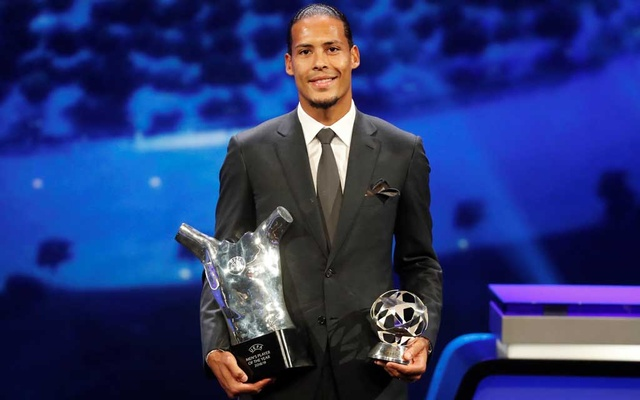 Liverpool's Virgil van Dijk with the UEFA Men's Player of the Year and Champions League Defender of the Season awards. Football - Champions League Group Stage draw - Grimaldi Forum, Monaco - August 29, 2019. Reuters
