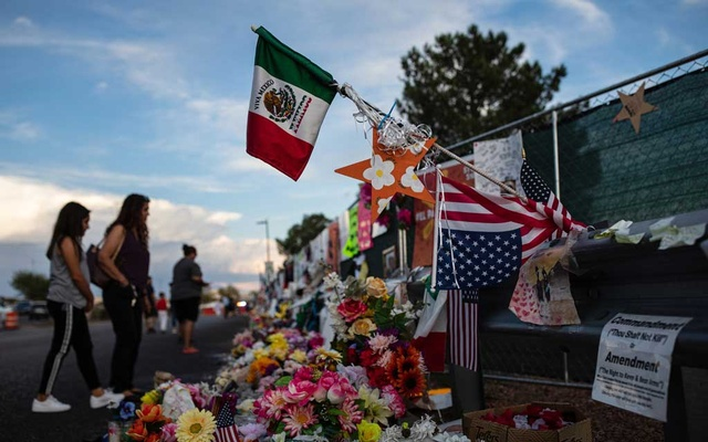 A makeshift memorial for victims of the recent shooting in El Paso, Texas, on Aug 28, 2019. Mario De Alba was shot at the Walmart in El Paso on Aug 3. He remains at the hospital, as his family uprooted their lives in Mexico to be with him. The New York Times