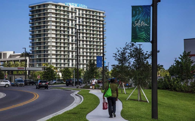 Condominiums and other buildings at the Sole Mia project in North Miami, Fla, on Tuesday, Jul 9, 2019. The developers of the project urged a local official to nominate the area as an opportunity zone and are now considering ways to take advantage of the status.