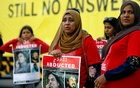 FILE PHOTO: Family members of disappeared Maldivian journalist Ahmed Rilwan Abdulla participate in an event to mark the