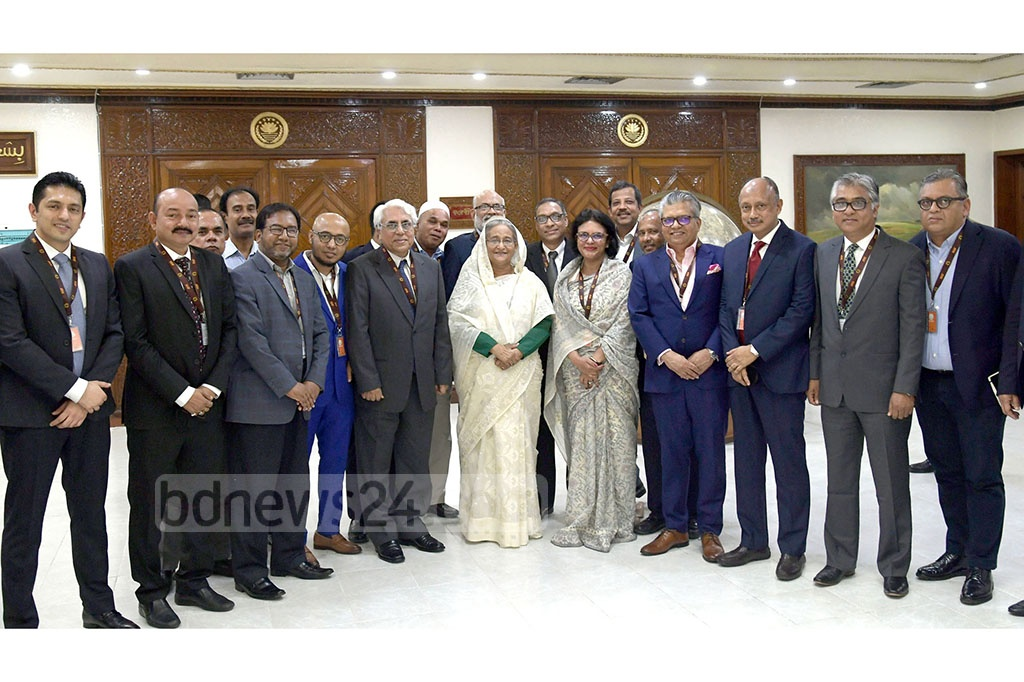 Newly elected leaders of Bangladesh Garment Manufacturers and Exporters Association or BGMEA, led by its President Rubana Huq, called on Prime Minister Sheikh Hasina at the Prime Minister's Office on Wednesday. Photo: Aktaruzzaman