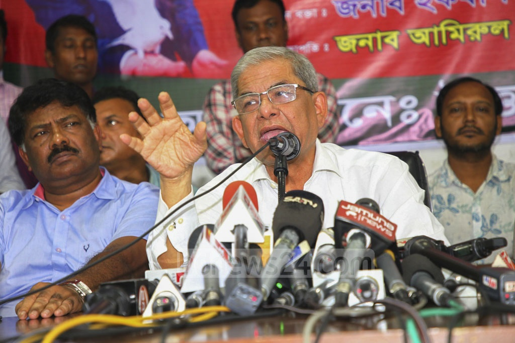 BNP Secretary General Mirza Fakhrul Islam Alamgir speaking at a discussion at the National Press Club in Dhaka on Wednesday marking the 12th anniversary of its acting chief Tarique Rahman's release from jail.