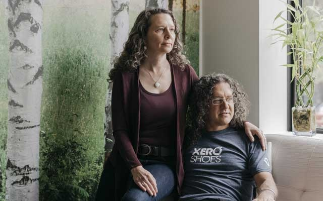 "Lena Phoenix and her husband, Steven Sashen, co-founders of Xero Shoes, in Broomfield, Colo., Aug. 29, 2019. The company is considering alternatives to the Chinese factories it uses, but in the United States, Phoenix said, ""there's no capacity."" (Benjamin Rasmussen/The New York Times)"