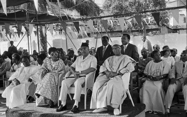 A photo provided by Thomas A Johnson shows Dawda Jawara, in front row at right, in 1973. Jawara, a veterinarian-turned-politician who led Gambia to independence from the British and then presided over the country as it became one of Africa's longest-running democracies, died on Aug 27, 2019, at his home in Fajara, a coastal suburb of Banjul, the capital. He was 95. The New York Times