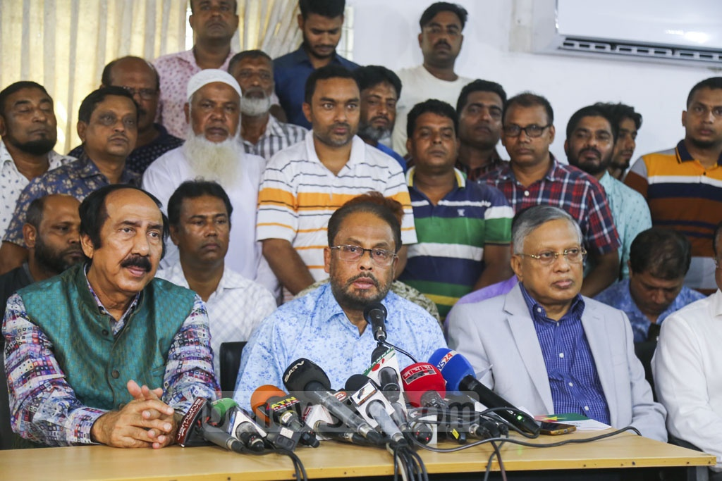 Jatiya Party leader GM Quader threatened to take appropriate measures after a faction of the party handpicked Raushon Ershad as its chairman. Photo: Mahmud Zaman Ovi