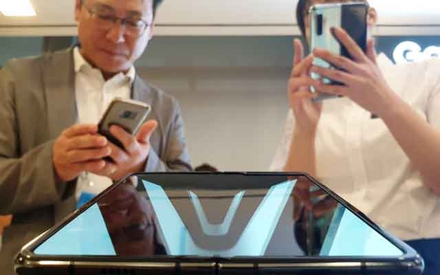 A Samsung Electronics Galaxy Fold is seen on display during a media event in Seoul South Korea