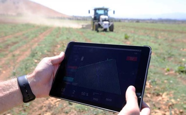 An iPad displays the pattern that a tractor will follow as it ploughs the field on a farm in Hollister, Calif, Aug 30, 2019. From equipment automation to data collection and analysis, the digital evolution of agriculture is already a fact of life on farms across the United States. The New York Times