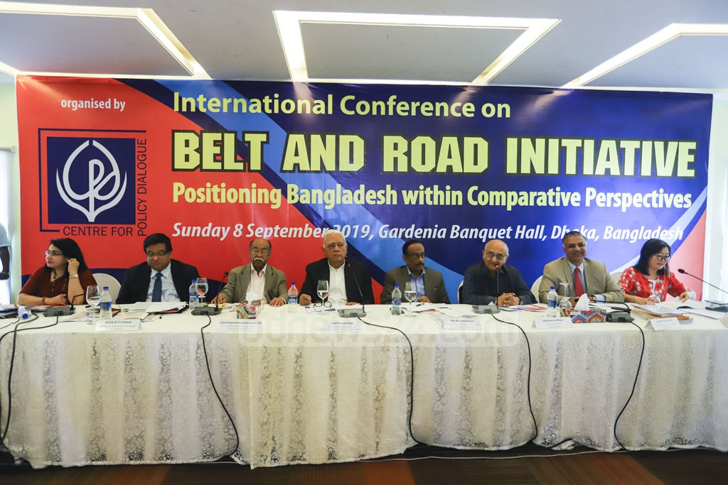 Guests addressing the international conference on the Belt and Road Initiative organised by the Centre of Policy Dialogue at a hotel in Dhaka's Gulshan on Sunday. Photo: Asif Mahmud Ove