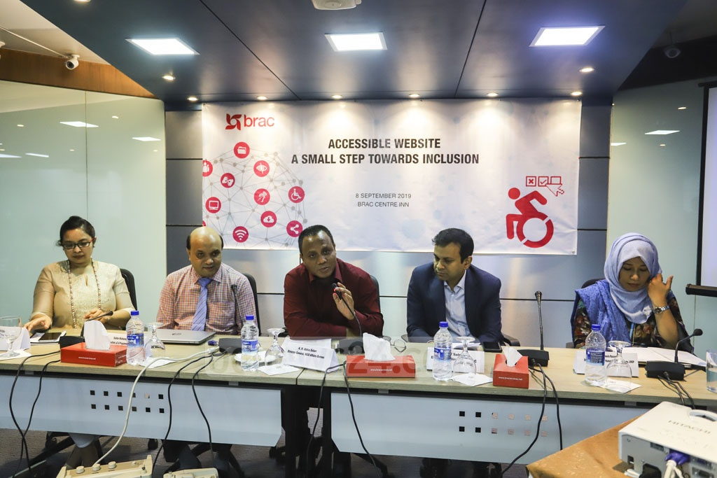 Director General of the Bureau of NGO Affairs KM Abdus Salam speaking at the launch of Brac's disability-friendly website at Brac Centre in the capital's Mohakhali on Sunday. Photo: Asif Mahmud Ove