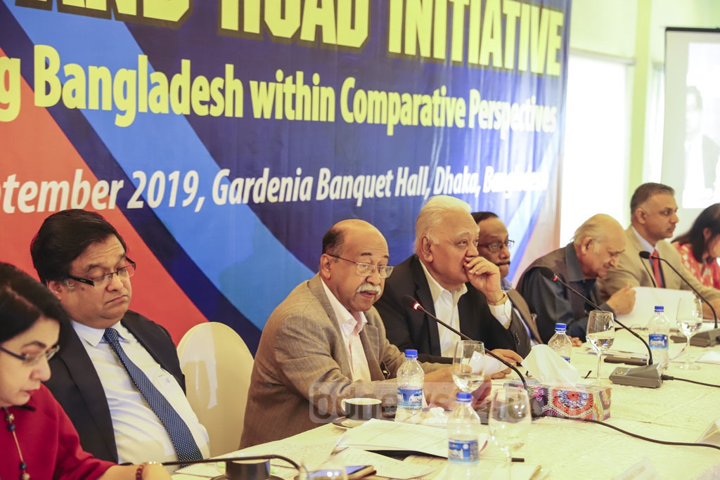 Industries Minister Nurul Majid Mahmud Humayun speaking at the conference on the Belt and Road Iniative organised by private think tank Centre for Policy Dialogue (CPD) at a hotel in Dhaka's Gulshan on Sunday. Photo: Asif Mahmud Ove