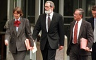Gary D Sowards, centre, with his fellow defence team lawyers, Judy Clarke and Quin Denvir, during the trial of Theodore Kaczynski in 1998.New York Times