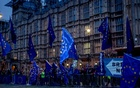"Protesters against Brexit outside of Parliament in London, Sep 9, 2019. As a new law went into effect blocking a ""no deal"" Brexit, lawmakers also handed Prime Minister Boris Johnson yet another defeat — rebuffing his bid for a snap election. The New York Times"