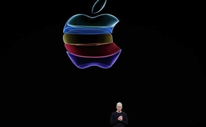 Caption: CEO Tim Cook speaks at an Apple event at their headquarters in Cupertino, California, US Sep 10, 2019. REUTERS