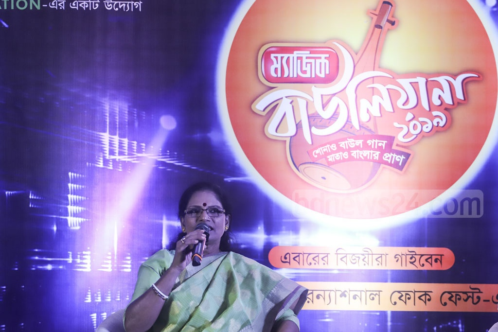 Singer Chandana Majumdar speaks at a media briefing on folk music reality show 'Magic Bauliana 2019' at the Four Points Hotel in Dhaka on Wednesday. Photo: Asif Mahmud Ove