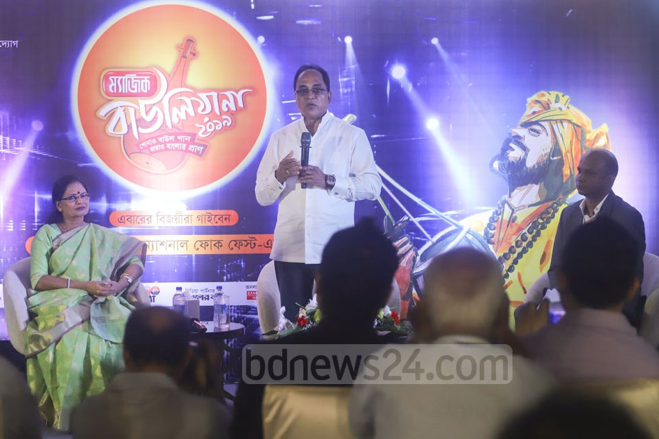 Anjan Chowdhury, managing director of Square Toiletries Ltd, speaks at a media briefing on folk music reality show 'Magic Bauliana 2019' at the Four Points Hotel in Dhaka on Wednesday. Photo: Asif Mahmud Ove