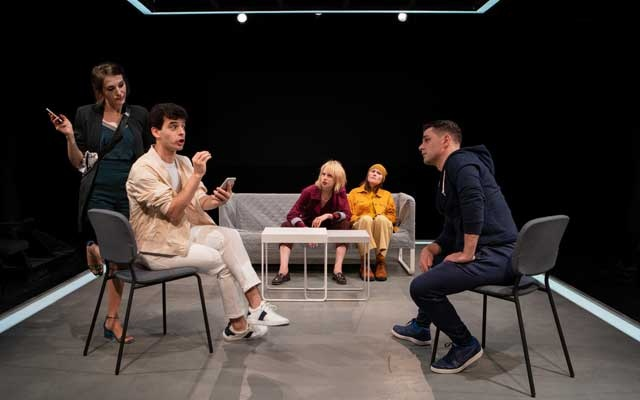 "From left: Adriane Moreno, Charlie Reid, Christina Toth, Crawford M Collins and Hamish Allan-Headley in ""See You"" at the New Ohio Theatre in New York, Sep 4, 2019. Five self-involved social-media obsessives don't make for good company in Guillaume Corbeil's play. The New York Times"