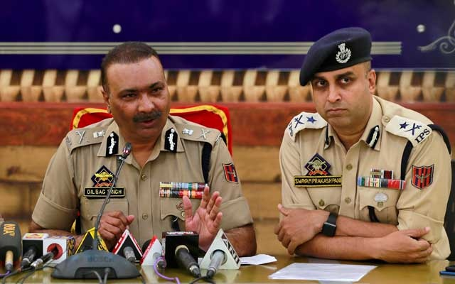 Dilbag Singh, the Jammu and Kashmir director general of police, speaks during a news conference in Srinagar Sep 11, 2019. REUTERS