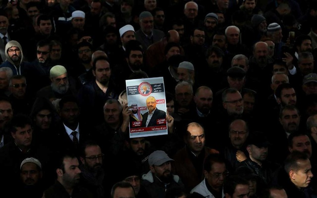 A symbolic funeral prayer for the Saudi journalist Jamal Khashoggi in Istanbul in 2018. The New York Times