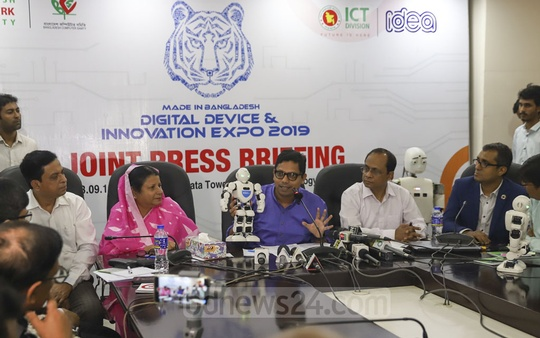 State Minister for ICT Zunaid Ahmed Palak briefing the media at the Digital Device and Innovation Expo 2019 in Dhaka's Karwan Bazar on Friday. The three-day exhibition will remain open to all from 10am to 8pm daily. Photo: Abdullah Al Momin