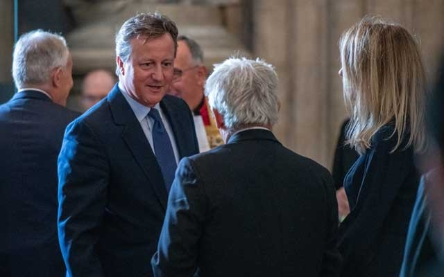 FILE PHOTO: Britain's former Prime Minister David Cameron speaks with Speaker of the House of Commons, John Bercow during the memorial service for Lord Paddy Ashdown at Westminster Abbey, in London, Britain September 10, 2019. Chris J Ratcliffe/Pool via REUTERS