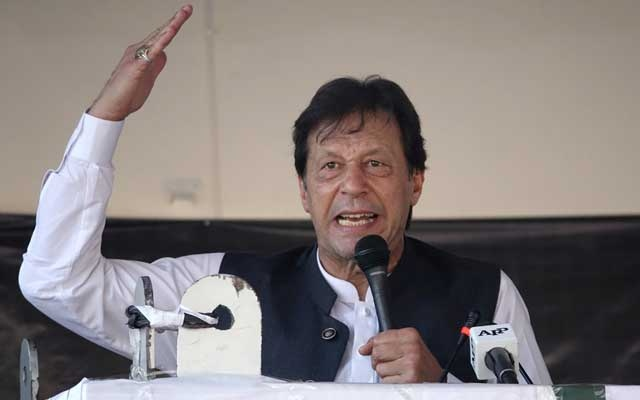 Pakistan's Prime Minister Imran Khan gestures as he speaks during a rally to express solidarity with the people of Kashmir, in Muzaffarabad, Pakistan-administered Kashmir, Sep 13, 2019. REUTERS