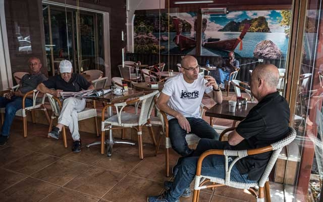 Israeli Arabs at a cafe in Baqa al-Gharbiyye, Israel, on Sept 7, 2019.