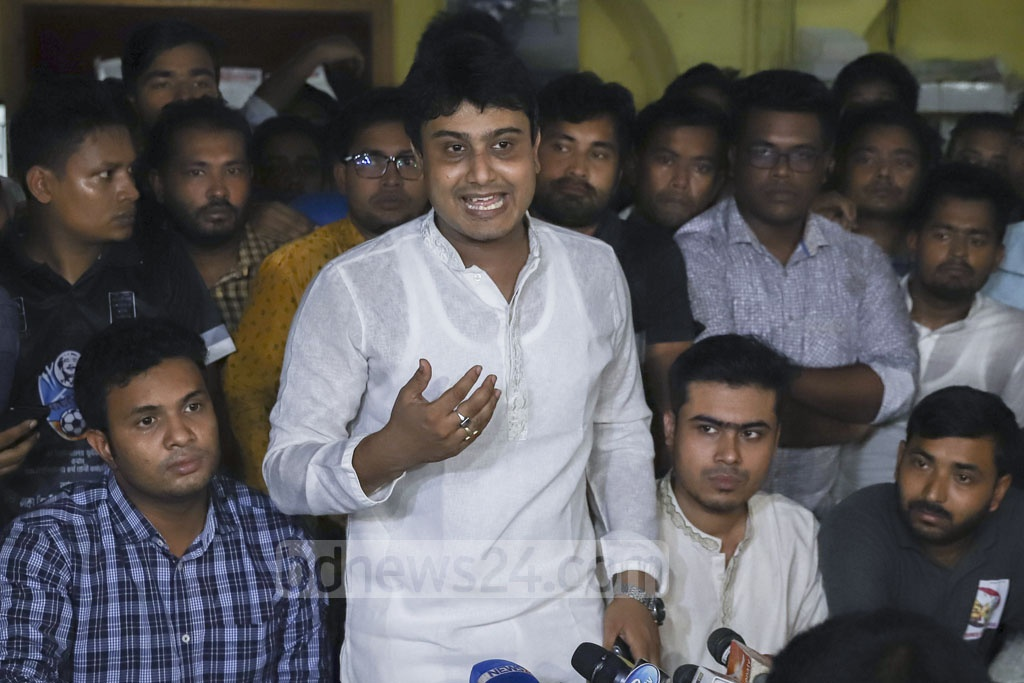 Bangladesh Chhatra League's Acting President Al-Nahean Joy addresses a media briefing at Dhaka University's Madhu's Canteen on Sunday. Photo: Abdullah Al Momin