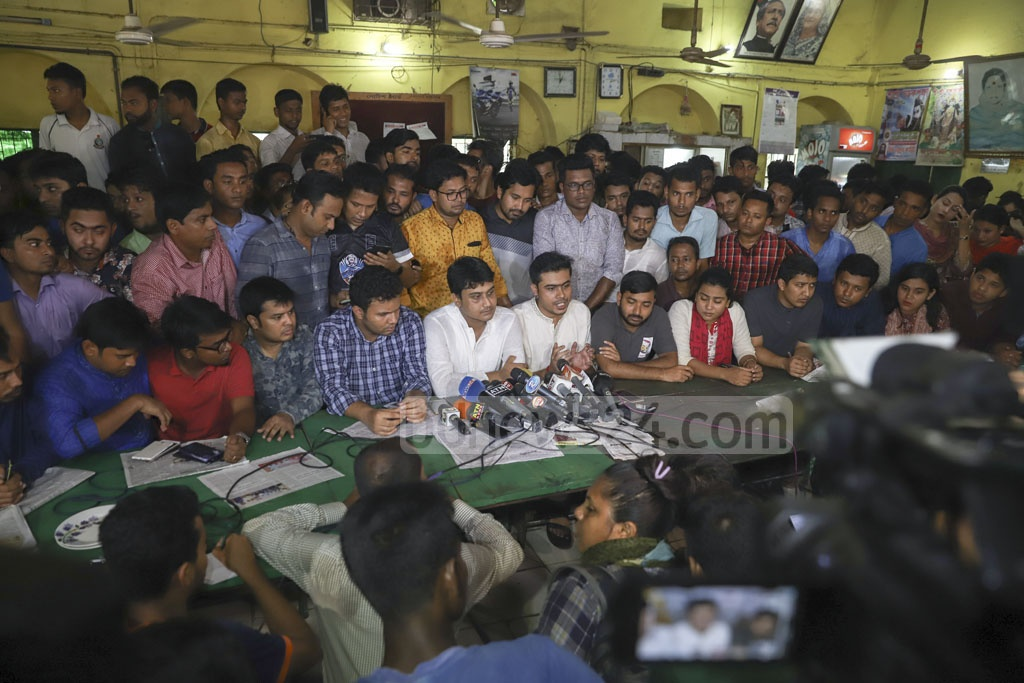 Acting general secretary of Chhatra League Lekhak Bhattacharjee addresses a media briefing at Dhaka University's Madhu's Canteen on Sunday. Photo: Abdullah Al Momin