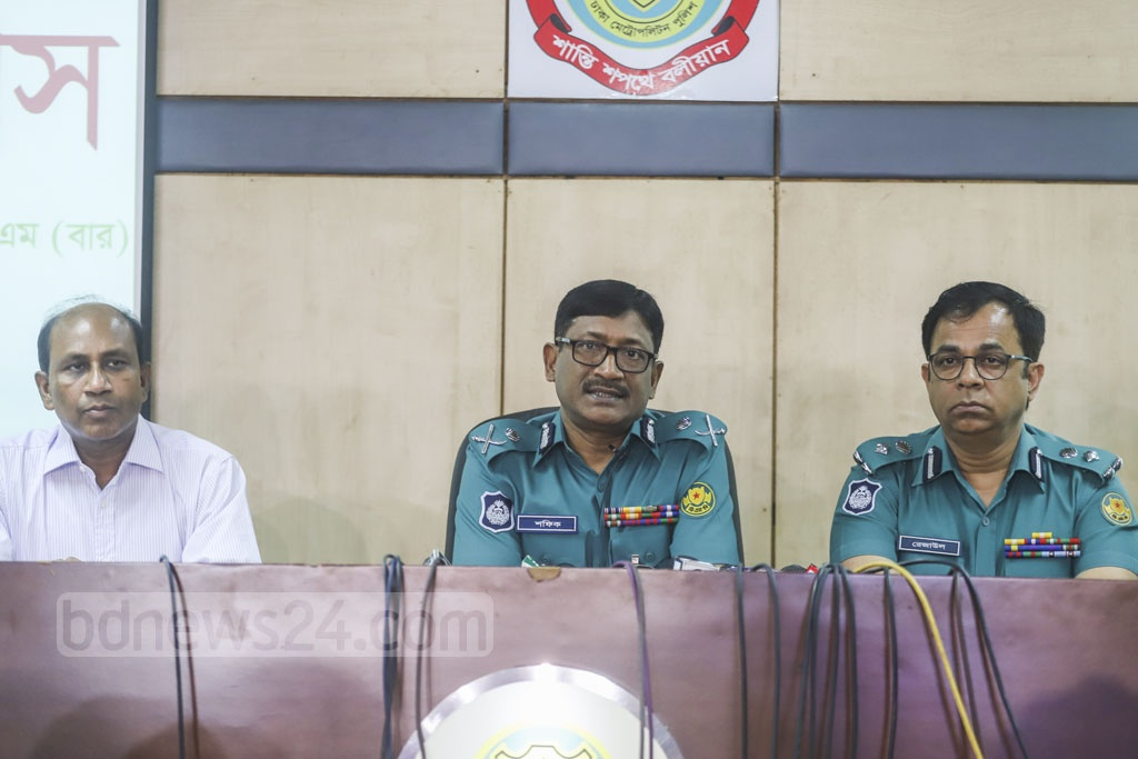 New Dhaka Metropolitan Police Commissioner Mohammed Shafiqul Islam speaks at a media briefing on Sunday. Photo: Abdullah Al Momin
