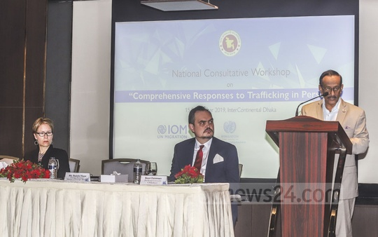 Foreign Secretary Shahidul Haque speaks at an event on human trafficking organised by IOM at the capital's Intercontinental Hotel on Sunday. Photo: Abdullah Al Momin
