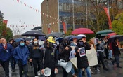 A protest held by pro-Hong Kong students at the University of Sydney last month. The New York Times