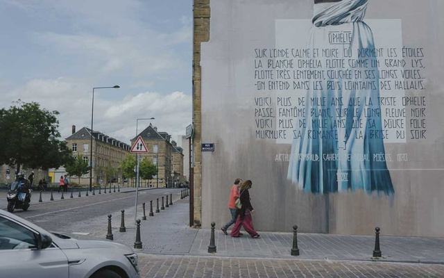 A mural of the poet Arthur Rimbaud's poem