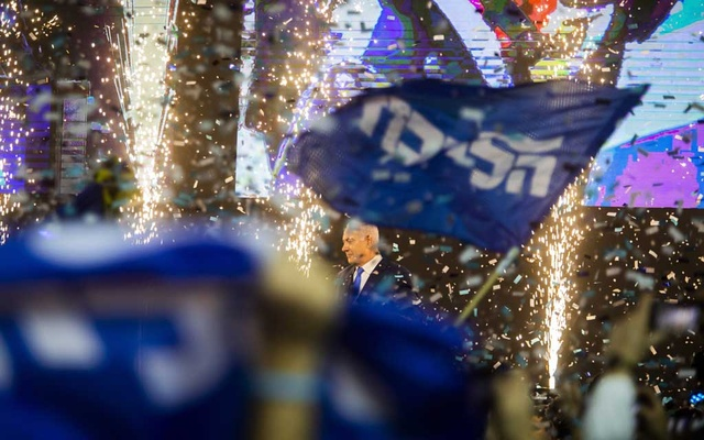Prime Minister Benjamin Netanyahu celebrating his Likud Party's election night victory in Tel Aviv, Israel, Apr 9, 2019. For Prime Minister Benjamin Netanyahu and his former deputy Avigdor Liberman, Israel's do-over election will cap a love-hate saga of three decades. The New York Times