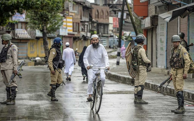 FILE — Security forces on patrol in Srinagar, India, Aug. 10, 2019. As the crisis in the Kashmir region of India drags into its sixth week, beleaguered Kashmiris are caught between the militant separatists and Indian security forces who, residents say, continue to abuse and torture them.
