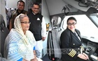 Prime Minister Sheikh Hasina sits in the cockpit of Biman's newly-inaugurated Boeing 787-8 Dreamliner 'Rajhangsha' at the Hazrat Shahjalal International Airport on Tuesday.