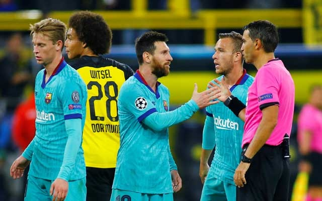 Champions League - Group F - Borussia Dortmund v FC Barcelona - Signal Iduna Park, Dortmund, Germany - September 17, 2019 Barcelona's Lionel Messi shakes hands with referee Ovidiu Hategan after the match REUTERS