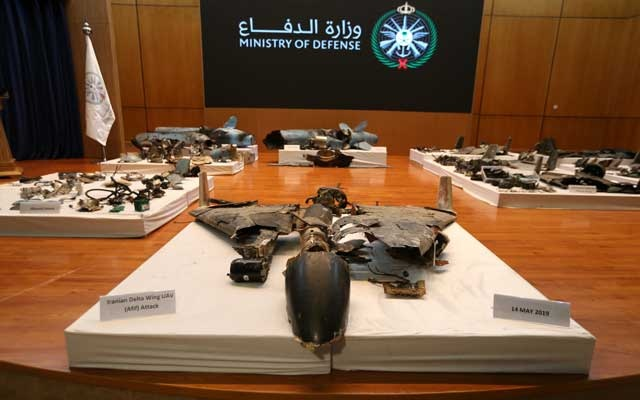 Remains of the missiles which Saudi government says were used to attack an Aramco oil facility, are displayed during a news conference in Riyadh, Saudi Arabia September 18, 2019. REUTERS
