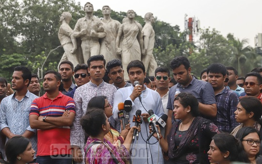 Bangladesh Chhatra League Acting President Al-Nahean Khan Joy attends a rally on the Dhaka University campus on Thursday demanding the arrest of BNP Vice-Chairman Shamsuzzaman Dudu over his alleged threats to assassinate Prime Minister Sheikh Hasina during a television talk show. Photo: Abdullah Al Momin