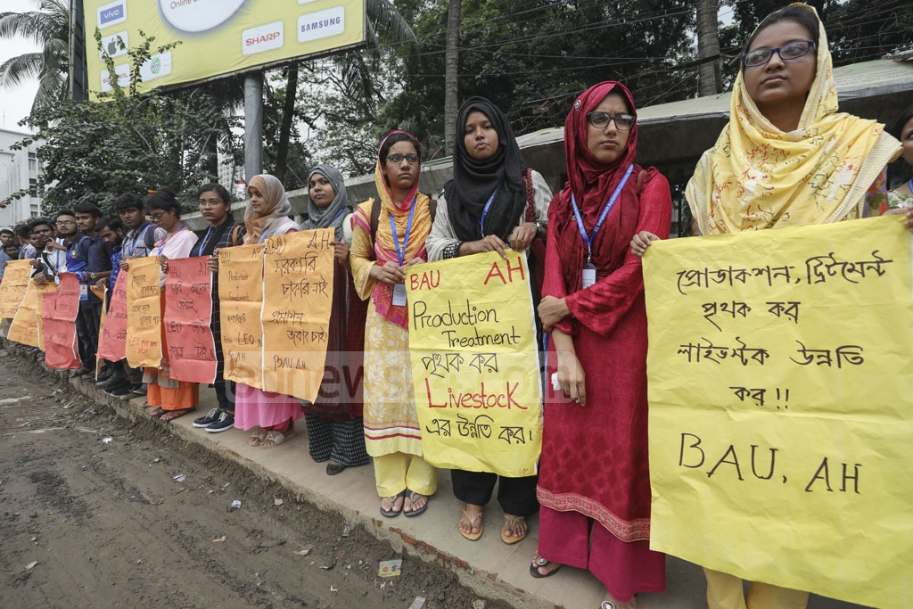 Bangladesh Animal Husbandry Students Federation forming a human chain in front of the National Press Club on Thursday to call for the reinstatement of the post of 'Livestock Extension Officer' in organogram of the Department of Livestock.