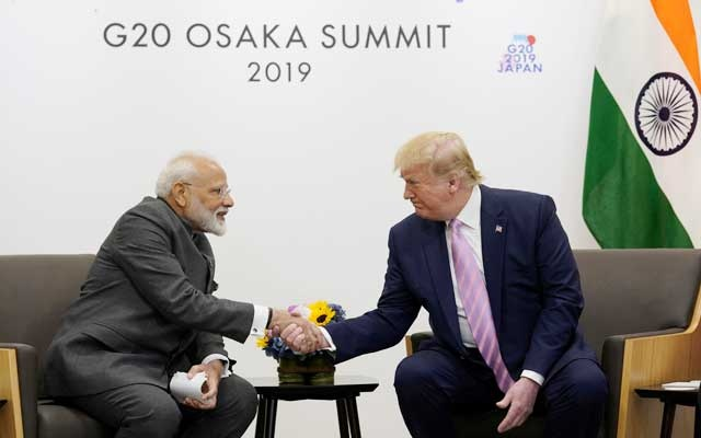 FILE PHOTO: US President Donald Trump attends a bilateral meeting with India's Prime Minister Narendra Modi during the G20 leaders summit in Osaka, Japan, June 28, 2019. REUTERS